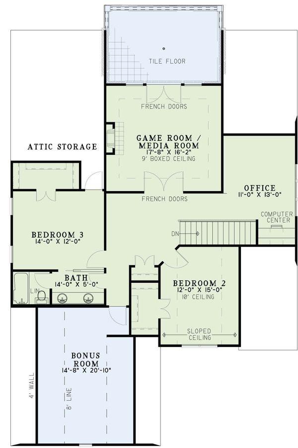 European Floor Plan - Upper Floor Plan Plan #17-2613