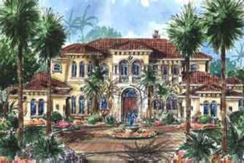 Mediterranean Style House Plan - 5 Beds 6.5 Baths 7123 Sq/Ft Plan #27-275 Exterior - Front Elevation