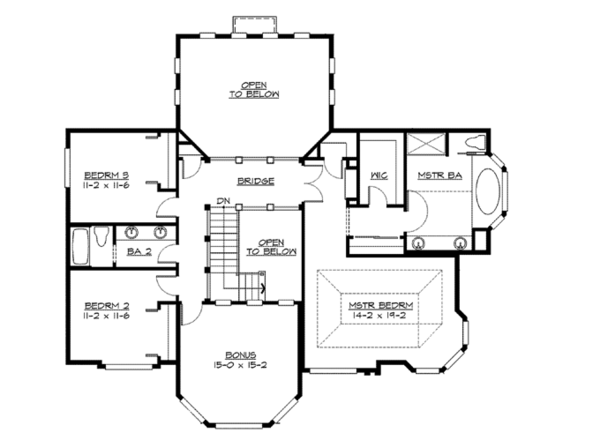 Craftsman Floor Plan - Upper Floor Plan Plan #132-244