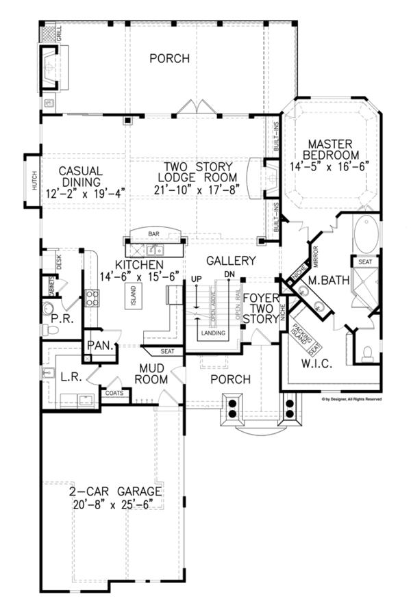 House Plan Design - Craftsman Floor Plan - Main Floor Plan #54-374