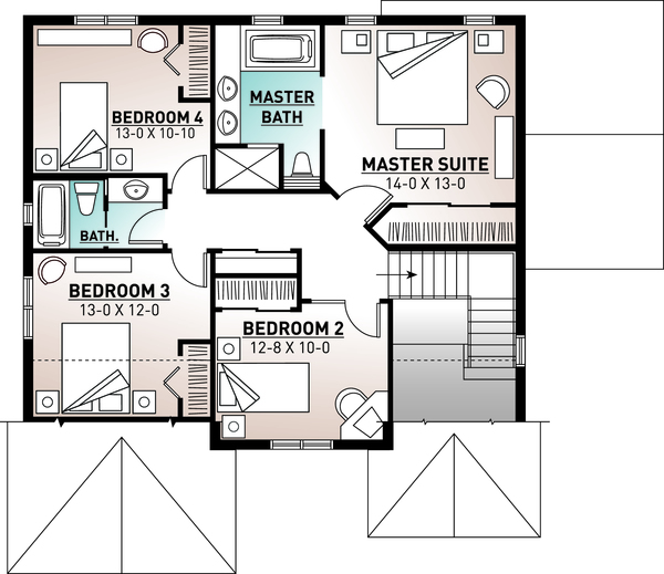 Traditional Floor Plan - Upper Floor Plan Plan #23-2285