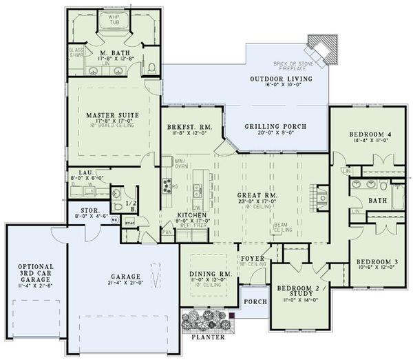 Southern Floor Plan - Main Floor Plan #17-2502