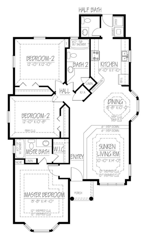 Ranch Floor Plan - Main Floor Plan Plan #1061-23