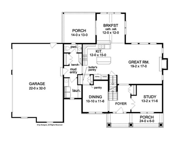Colonial Floor Plan - Main Floor Plan Plan #1010-63
