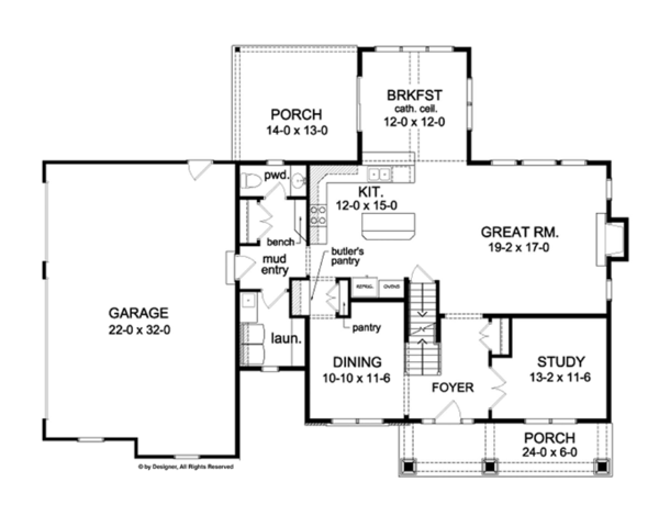Colonial Floor Plan - Main Floor Plan Plan #1010-63