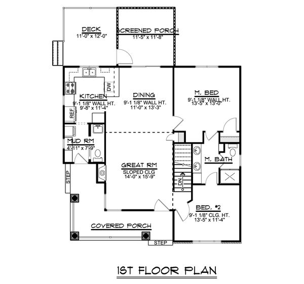 Craftsman Floor Plan - Main Floor Plan Plan #1064-45