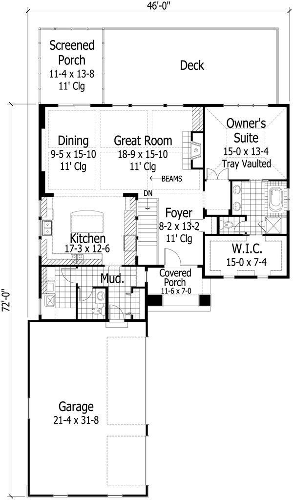 European Floor Plan - Main Floor Plan Plan #51-432