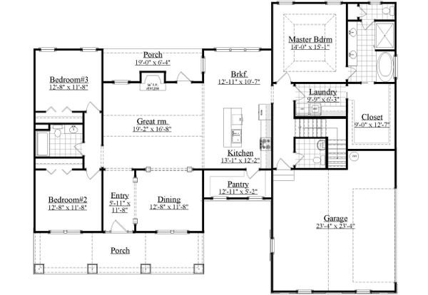 Craftsman Floor Plan - Main Floor Plan Plan #1071-1
