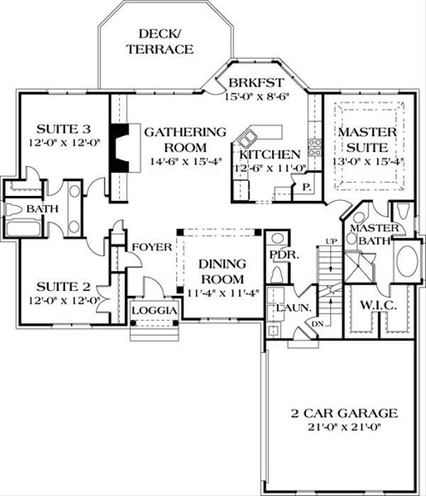 Traditional Floor Plan - Main Floor Plan Plan #453-40