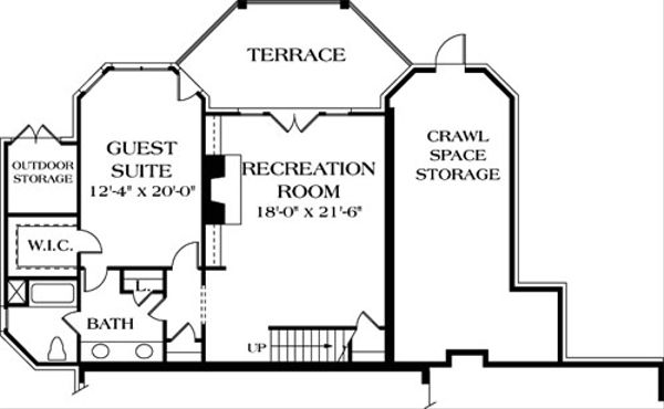 Traditional Floor Plan - Lower Floor Plan #453-32