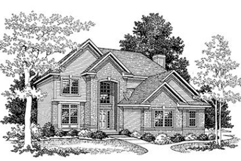 Traditional Style House Plan - 4 Beds 2.5 Baths 2316 Sq/Ft Plan #70-369 Exterior - Front Elevation