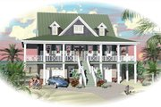Beach Style House Plan - 3 Beds 2.5 Baths 4658 Sq/Ft Plan #81-13792 Exterior - Rear Elevation