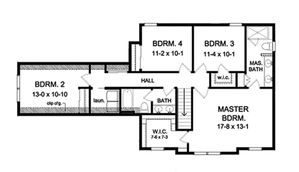 Country Floor Plan - Upper Floor Plan Plan #1010-124