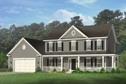 Colonial Style House Plan - 4 Beds 2.5 Baths 2148 Sq/Ft Plan #1010-152 Exterior - Front Elevation