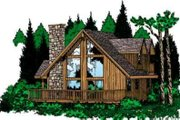 Cabin Style House Plan - 2 Beds 2 Baths 1677 Sq/Ft Plan #126-106 Exterior - Front Elevation