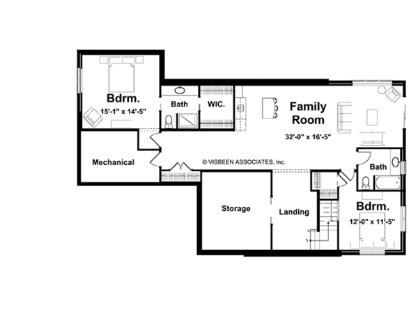 Country Floor Plan - Lower Floor Plan Plan #928-86