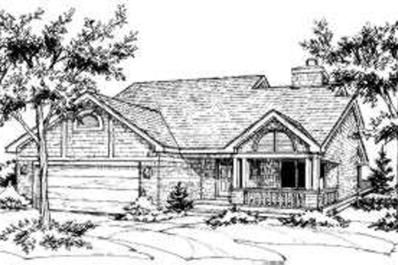 Country Style House Plan - 3 Beds 2 Baths 1443 Sq/Ft Plan #320-137 Exterior - Front Elevation