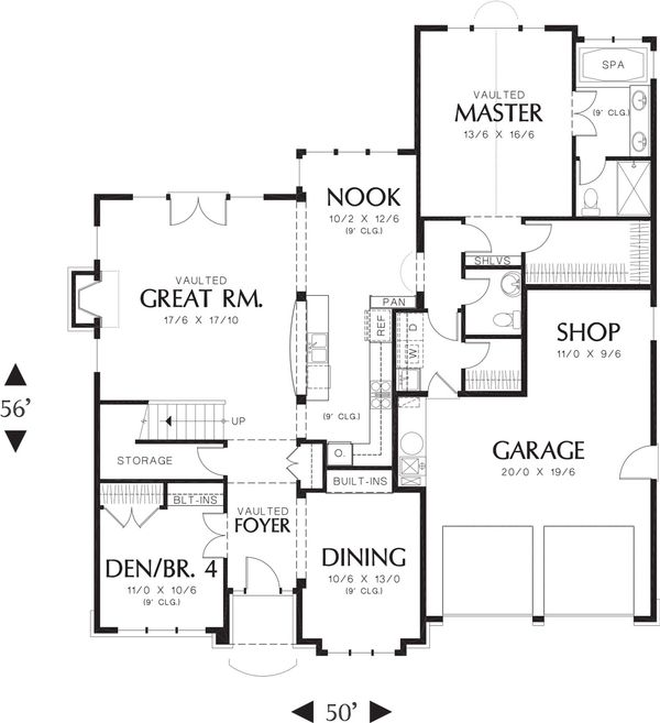 European Floor Plan - Main Floor Plan Plan #48-459