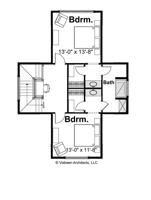 Bungalow Floor Plan - Upper Floor Plan Plan #928-191