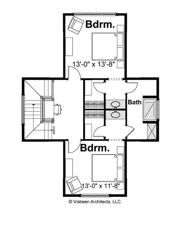 Bungalow Floor Plan - Upper Floor Plan #928-191
