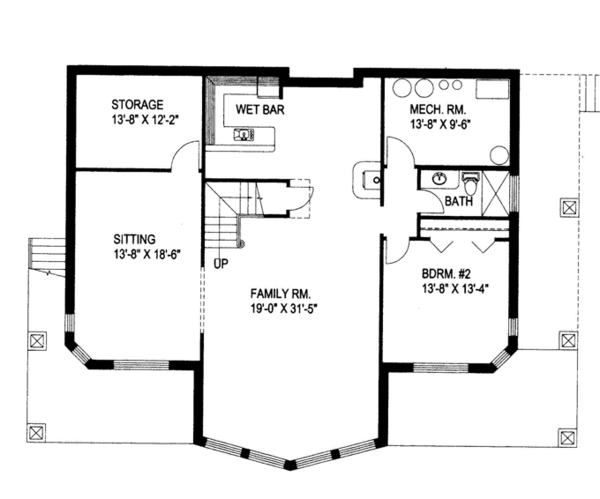 Ranch Floor Plan - Lower Floor Plan Plan #117-838