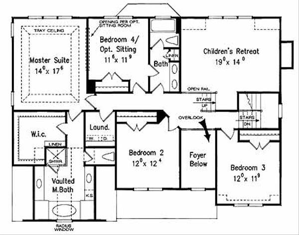 House Plan Design - Colonial Floor Plan - Upper Floor Plan #927-953