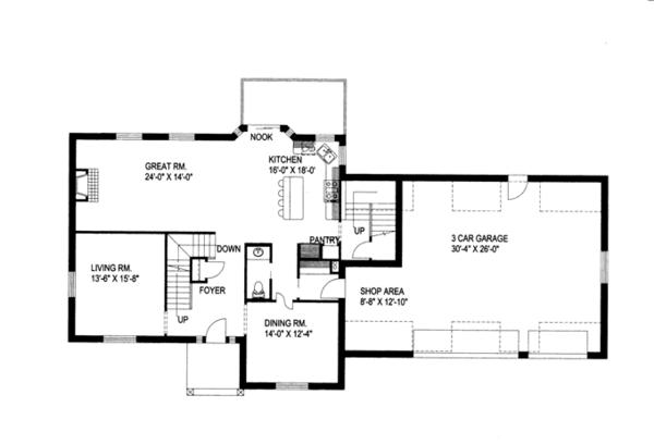 Traditional Floor Plan - Main Floor Plan Plan #117-837