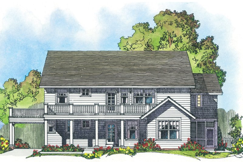 Colonial Exterior - Rear Elevation Plan #1016-100 - Houseplans.com