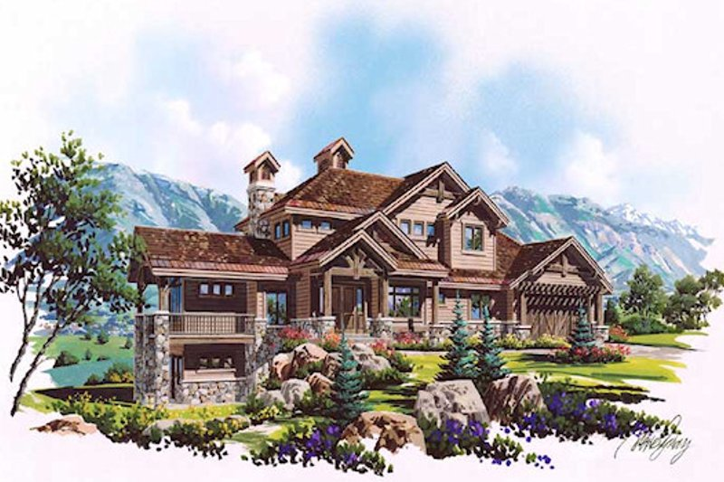Craftsman Style House Plan - 6 Beds 6 Baths 3458 Sq/Ft Plan #5-466 Exterior - Front Elevation
