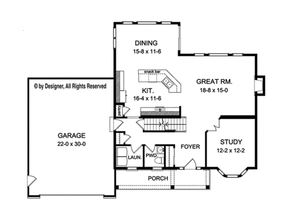 Traditional Floor Plan - Main Floor Plan Plan #1010-125