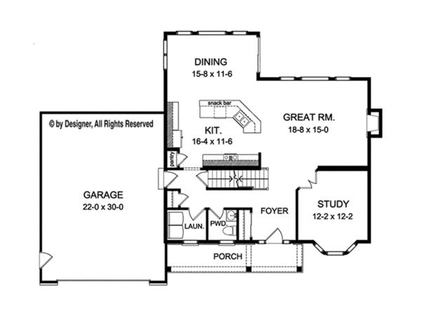 House Plan Design - Traditional Floor Plan - Main Floor Plan #1010-125