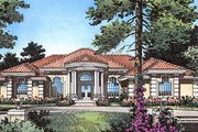 European Style House Plan - 4 Beds 3.5 Baths 3556 Sq/Ft Plan #417-394 Exterior - Front Elevation