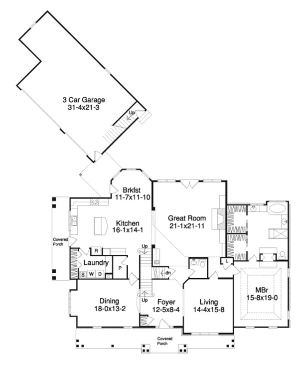 Country Floor Plan - Main Floor Plan Plan #57-628