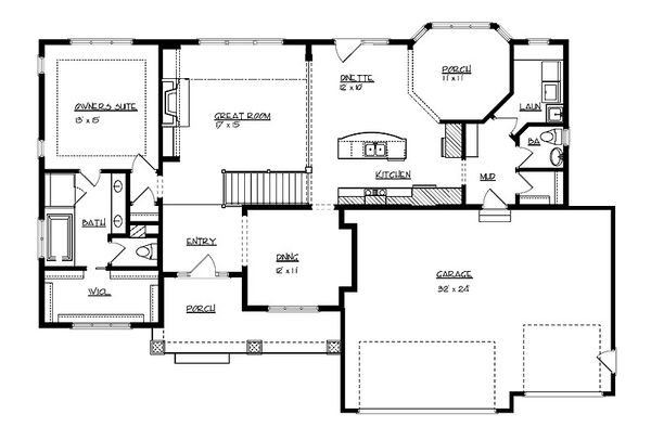 Craftsman Floor Plan - Main Floor Plan Plan #320-496
