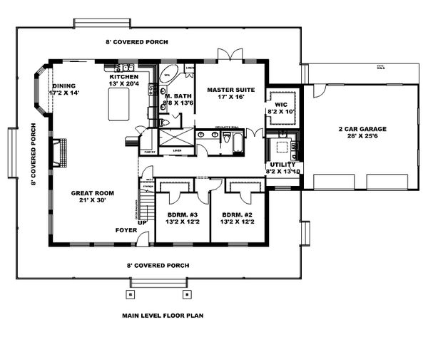 Dream House Plan - Country Floor Plan - Main Floor Plan #117-889