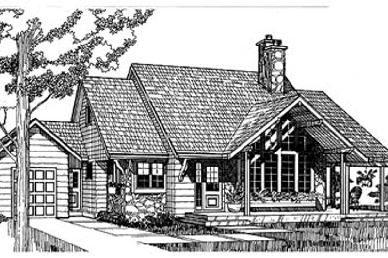 Cottage Style House Plan - 3 Beds 2 Baths 1682 Sq/Ft Plan #47-104 Exterior - Front Elevation