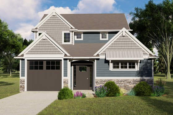 Cottage Exterior - Front Elevation Plan #1064-108