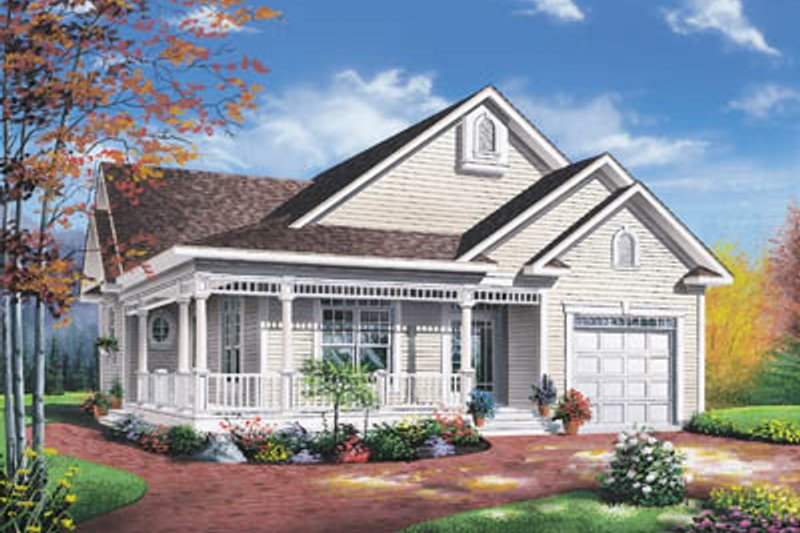 Cottage Exterior - Front Elevation Plan #23-135