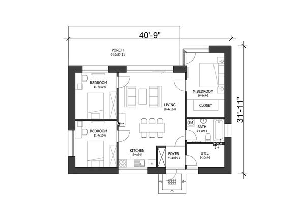 Modern Floor Plan - Main Floor Plan Plan #538-12