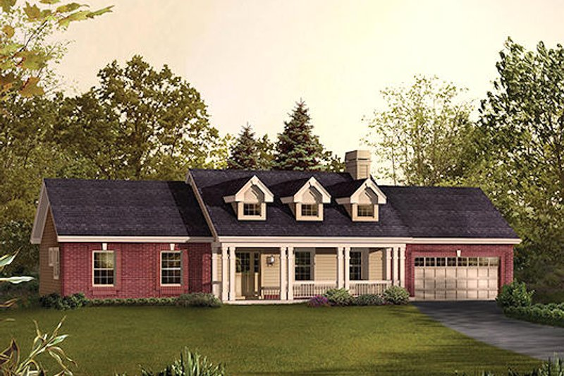 Traditional Style House Plan - 3 Beds 2 Baths 1420 Sq/Ft Plan #57-393
