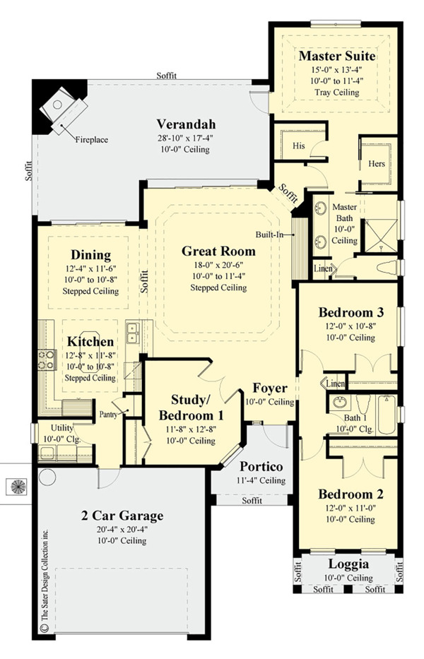 Craftsman Floor Plan - Main Floor Plan Plan #930-503