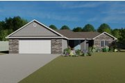 Ranch Style House Plan - 3 Beds 2.5 Baths 1703 Sq/Ft Plan #1064-21 Exterior - Front Elevation