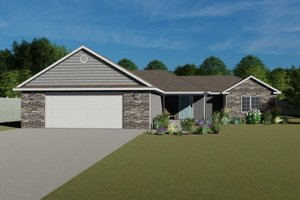 House Blueprint - Ranch Exterior - Front Elevation Plan #1064-21