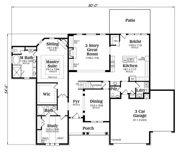 Traditional Floor Plan - Main Floor Plan Plan #419-274