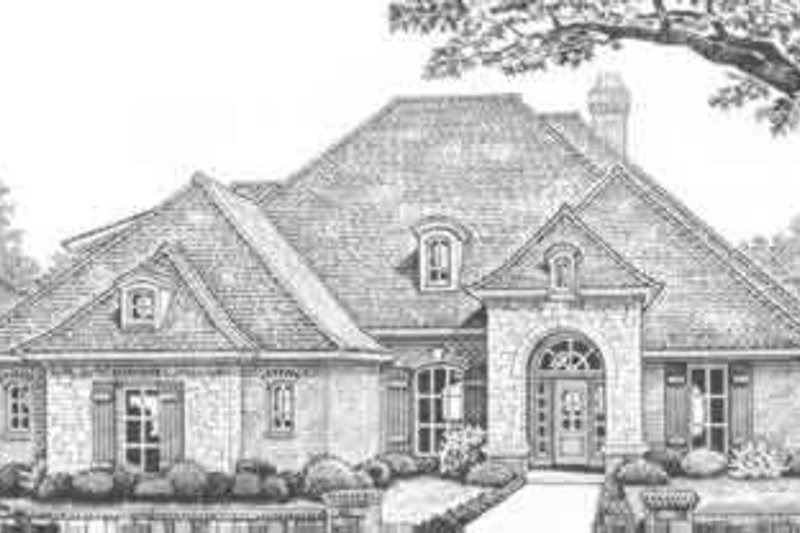 European Style House Plan - 3 Beds 2.5 Baths 2601 Sq/Ft Plan #310-377 Exterior - Front Elevation