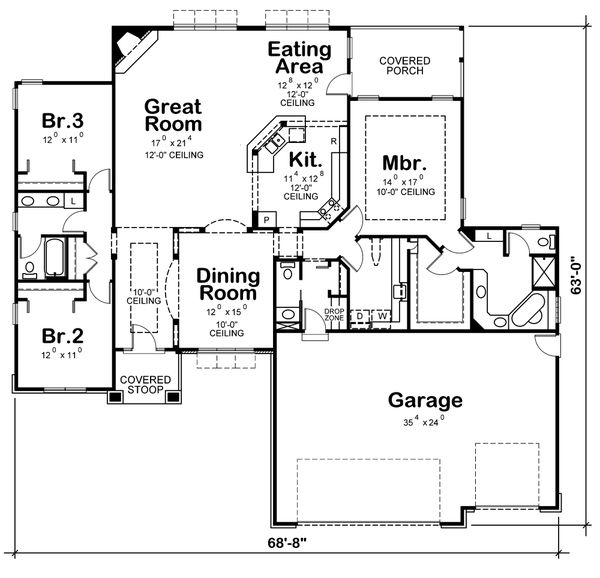 Architectural House Design - Traditional Floor Plan - Main Floor Plan #20-1761