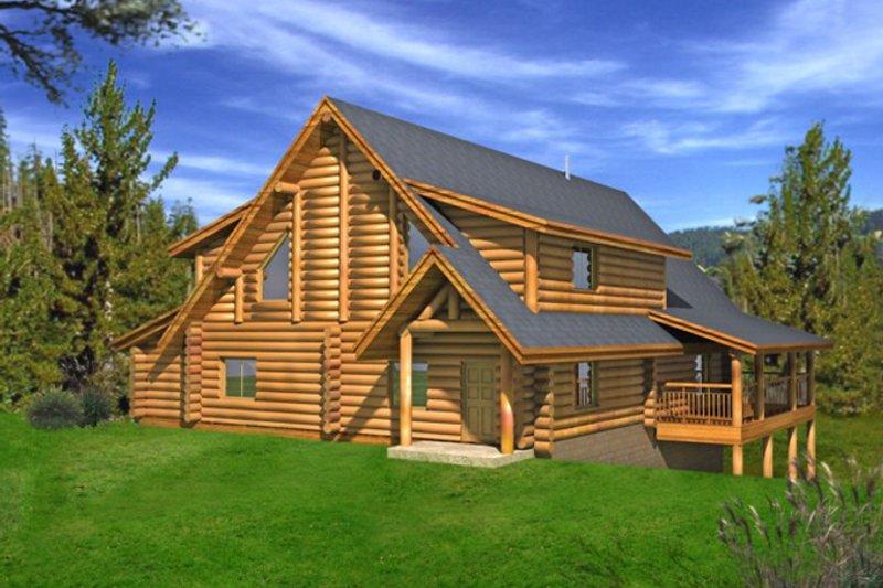 Log Exterior - Rear Elevation Plan #117-826