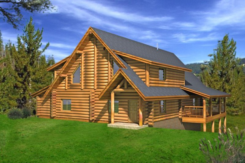 Log Exterior - Rear Elevation Plan #117-826