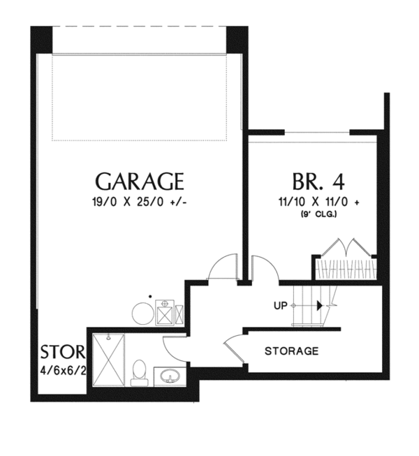Craftsman Floor Plan - Lower Floor Plan Plan #48-911