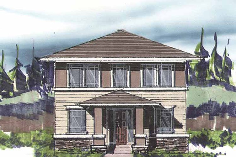 Prairie Exterior - Front Elevation Plan #509-220